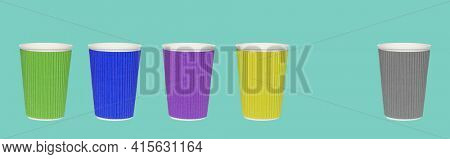 Inclusive and discrimination concept. Lines of paper cups and different ones as symbol of diversity over colored background. The concept of leadership, differences, inequality. Cups on blue background