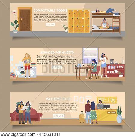 Hostel Vector Banner Template Set. Reception, Cheap Comfortable Dormitory Rooms, Kitchen, Laundry Fo