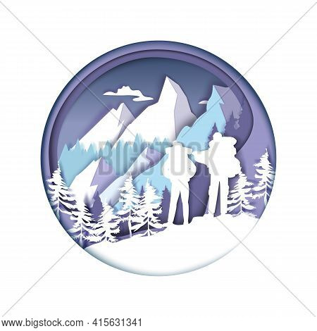 Paper Cut Hiker Couple Silhouettes, Winter Mountains. Tourists With Backpacks Hiking, Trekking, Vect