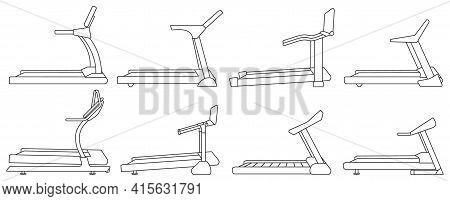 Treadmill Vector Outline Set Icon. Vector Illustration Runner Equipment On White Background. Isolate