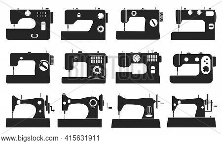 Sewing Machine Vector Illustration On White Background. Isolated Black Set Icon Tool For Sew. Vector