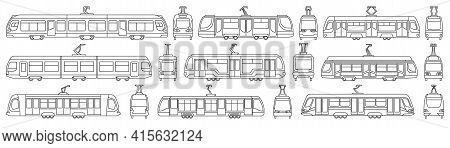 Tram Vector Outline Set Icon. Vector Illustration Streetcar On White Background. Isolated Outline Se