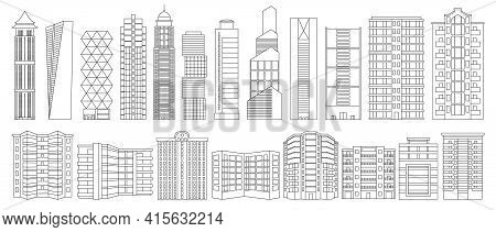 High Building Isolated Outline Set Icon.vector Illustration Illustration Skyscraper On White Backgro