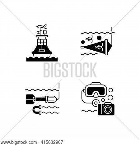 Marine Exploration Black Linear Icons Set. Weather Buoy System. Plankton Net Equipment. Marine Magne