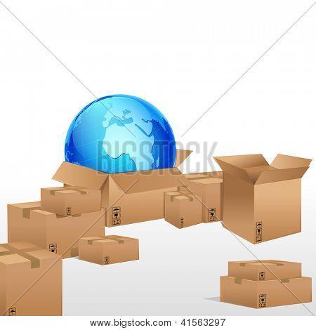 illustration of globe in cardboard box for cargo