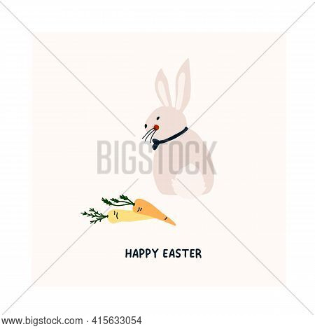 Cute Hand Drawn Happy Easter Card With Rabbit And Carrots. Cozy Hygge Scandinavian Style Template Fo