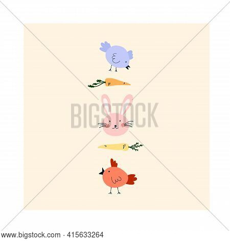 Cute Hand Drawn Happy Easter Card With Rabbit Face, Chickens, Carrots. Cozy Hygge Scandinavian Style