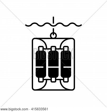 Water Sampler Black Linear Icon. Water Sampling Devices. Bucket Dropped Over Side Of Boat. Large Wat