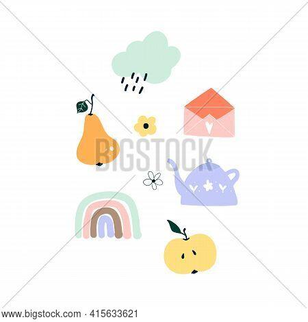 Cute Hand Drawn Spring Pear, Rainbow, Apple, Rainy Cloud, Teapot, Envelope. Cozy Hygge Scandinavian