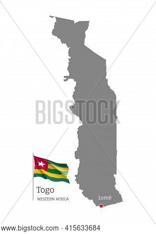Silhouette Of Togo Country Map. Gray Editable Map With Waving National Flag