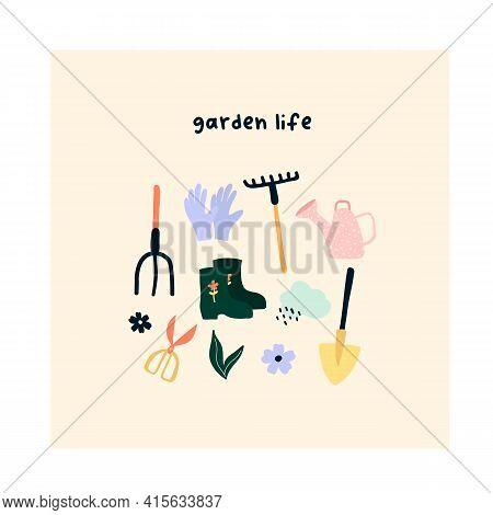 Cute Hand Drawn Garden Tools Shovel, Rake, Scissors, Rubber Boots, Watering Can. Cozy Hygge Scandina