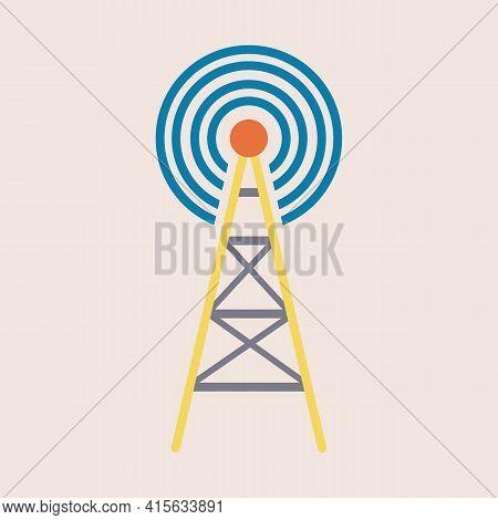 Radio Tower Icon. Radio Waves For Broadcast Transmission Line Art Vector Icon