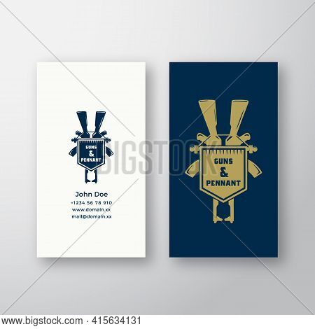 Pennant And Guns Abstract Vector Logo And Business Card Template. Premium Stationary Realistic Mock
