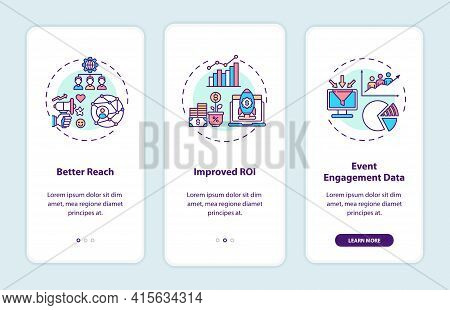 Hybrid Event Benefits Onboarding Mobile App Page Screen With Concepts. Improved Roi, Better Reach Wa