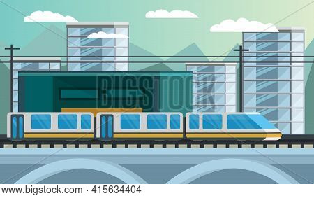 Railway Transport Composition Including Modern Train And Station On City Landscape Background Orthog