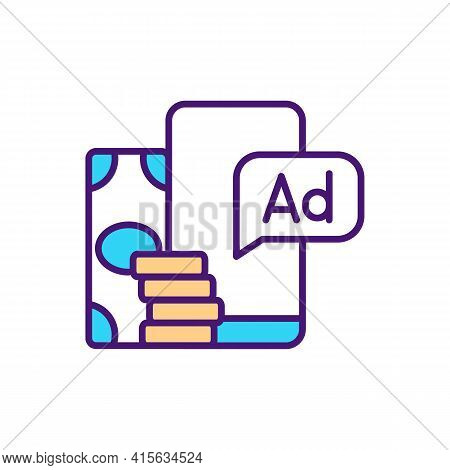 Paid Advertising Rgb Color Icon. Posting Paid Ads On Social Media. Search Engine Optimization. Adver