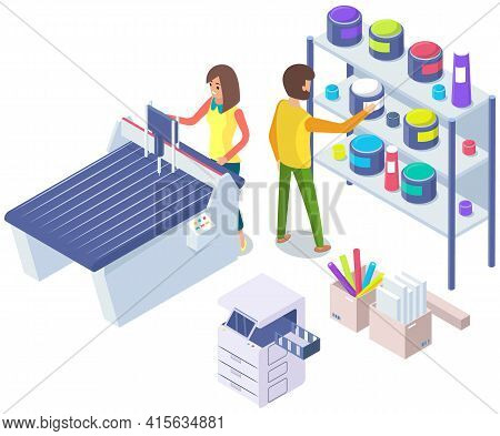 People Working With Equipment And Shelving With Paints. Office Technique Vector Illustration