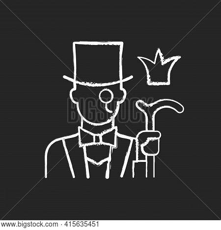 Aristocratic Elite Chalk White Icon On Black Background. Posh Gentleman With Monocle. Rich Person, W
