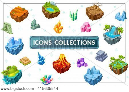 Isometric Game Nature Concept With Desert Tropical Ice Forest Landscape Islands Dry Tree Lake Mounta