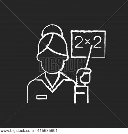 Pink Collar Worker Chalk White Icon On Black Background. Woman Teaching Class. Professional Lecturer