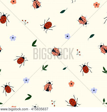 Seamless Pattern With Cute Hand Drawn Ladybugs And Flowers. Cozy Hygge Scandinavian Style Template F