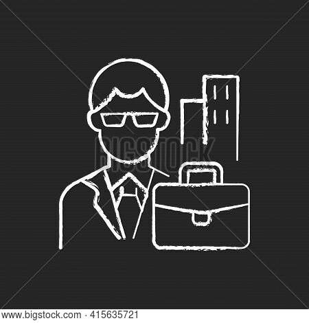 White Collar Worker Chalk White Icon On Black Background. Professional Businessman, Executive Manage
