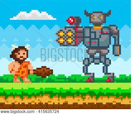 Primitive Man Attacks Mechanical Robot In Iron Armor. Bot Shoots Rockets At Caveman With Wooden Club