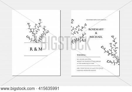 Botanical Line Art Minimalist Floral Wedding Invitation Card Template. Hand Drawn Black Leaves Sketc