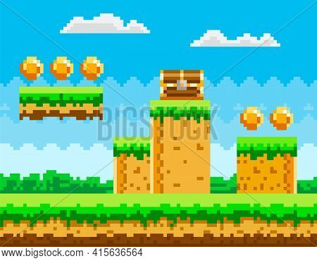 Pixel-game Background With Coins In Sky. Pixel Art Game Scene With Green Grass Platform And Chest