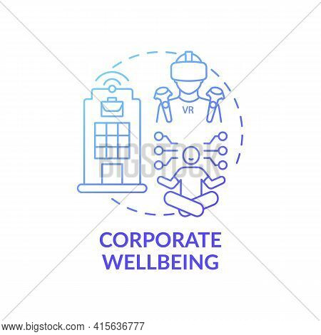 Corporate Wellbeing Concept Icon. Future Office Design Idea Thin Line Illustration. Supporting Physi