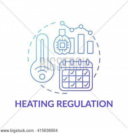 Heating Regulation Concept Icon. Smart Office Idea Thin Line Illustration. Air Temperature Preferenc