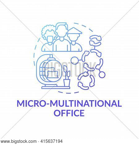 Micro-multinational Office Concept Icon. Workspace Trend Idea Thin Line Illustration. Diverse Employ