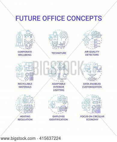 Future Office Concept Icons Set. Corporate Wellbeing Idea Thin Line Rgb Color Illustrations. Heating