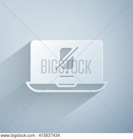 Paper Cut Mute Microphone On Laptop Icon Isolated On Grey Background. Microphone Audio Muted. Paper