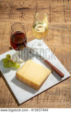 Cheese Collection, Piece Of Spanisch Hard Manchego Cheese Made In La Mancha Region From Sheep Milk A