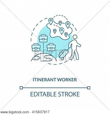Itinerant Worker Blue Concept Icon. Immigration For Work. Temporary Job In Different Regions. Migran
