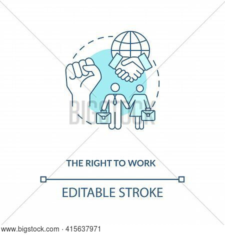 The Right To Work Blue Concept Icon. Labour Union. Equality For Gender. Male, Female Worker. Migrant