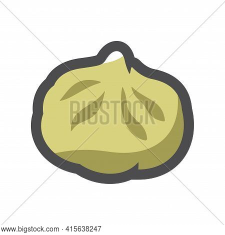 Dumpling Dough Stuffed With Minced Meat Vector Icon Cartoon Illustration