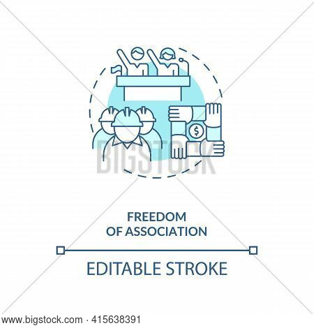 Freedom Of Association Blue Concept Icon. Labour Union. Employees Teamwork. Migrant Worker Rights Id