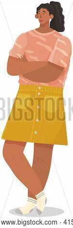 Unhappy Woman With Black Hair Dressed In Casual Clothes. Female Sad Character Isolated On White