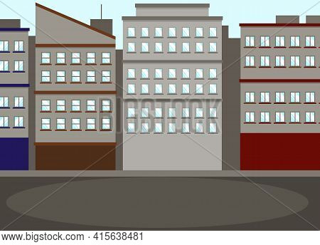 Gray City Buildings And Gloomy Houses Along Road. Dark Cityscape, Urban Landscape Of Town