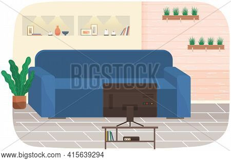 Modern Living Room Interior Design. Design Of Cozy Room With Sofa, Tv Stand And Decor Accessories