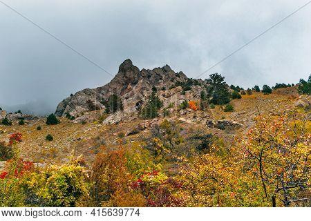 Mountains Of Crimea In An Gloomy Autumn Day