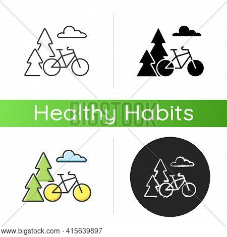 Outdoor Activities Icon. Outside Exercise. Riding Bike In Nature. Bicycle Activity. Active Healthy L