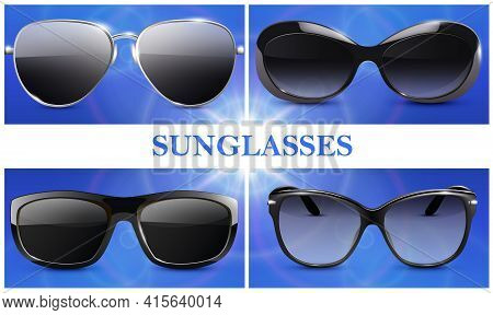 Realistic Fashionable Sunglasses Composition With Modern Eyeglasses With Plastic And Metal Rims Isol