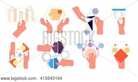 Cooperation Metaphor. Hands Collect Abstract Geometric Shapes. Business Solution, Collaboration Or T