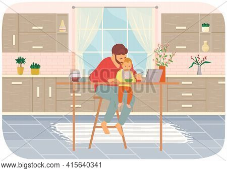 Dad Feeds Baby Wearing Bib In Kitchen. Kid Sits On His Dad S Lap, Eats And Watches Cartoon On Laptop