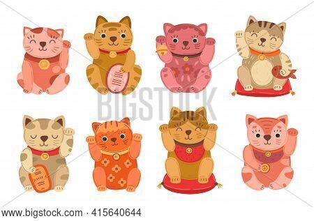Japanese Cats. Lucky Japan Cat, Isolated Asian Pet. Flat Culture Maneki Neko Animal, Kawaii Money Ri