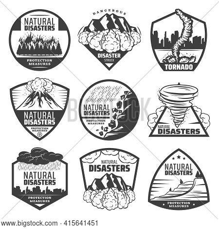 Vintage Monochrome Natural Disaster Labels Set With Wildfire Landslide Avalanche Tornado Volcano Eru