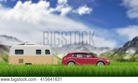 Caravan Trailer On The Green Grass On The Mountain Landscape. Suv Car Pulling Rv Vector Background W